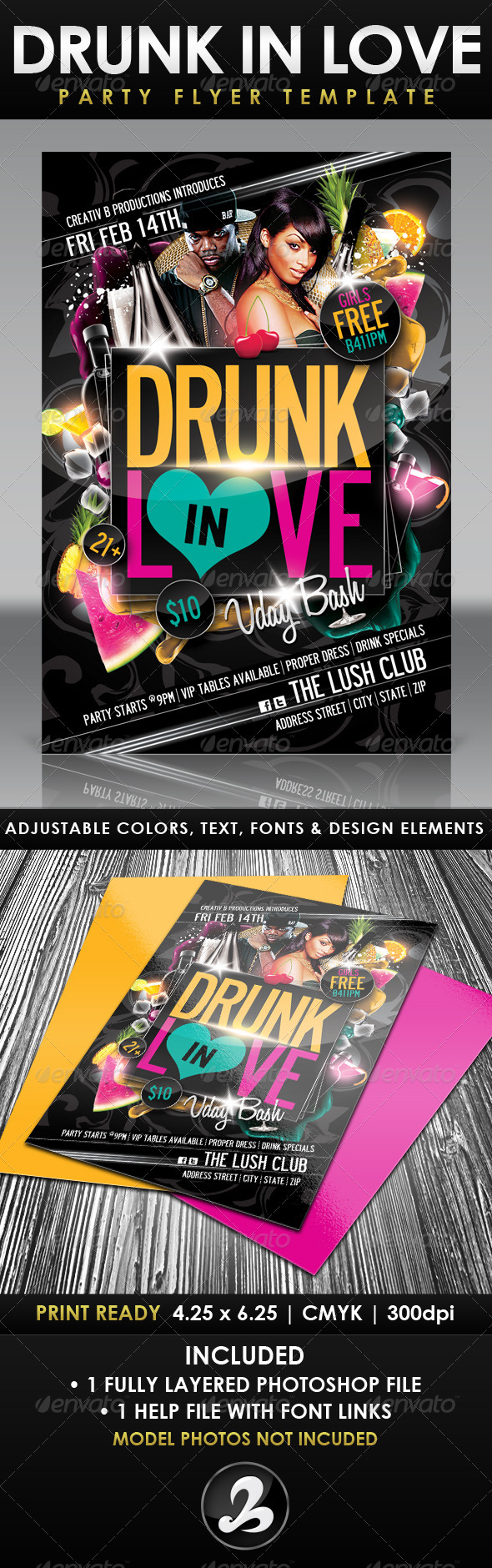 Drunk In Love Party Flyer Template - Clubs & Parties Events