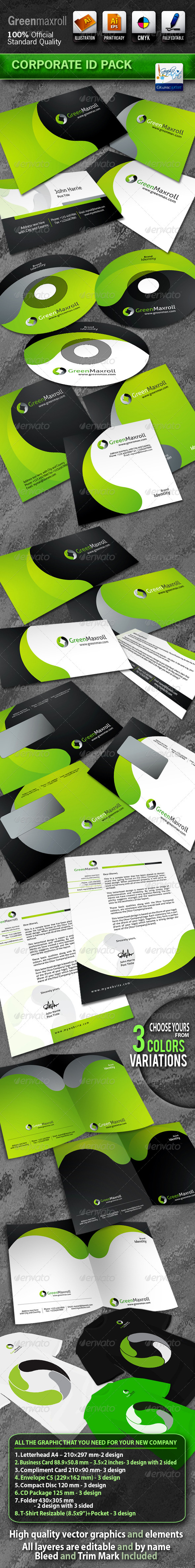 GreenMaxroll Business Corporate ID Pack With Logo - Stationery Print Templates