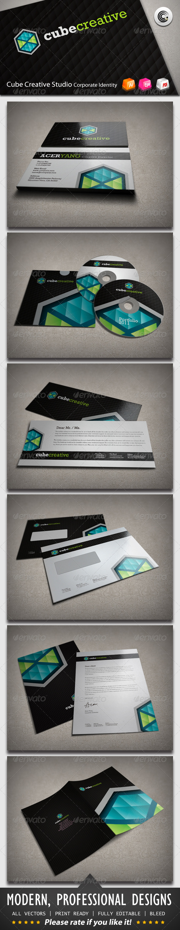 Cube Creative Corporate Identity - Stationery Print Templates