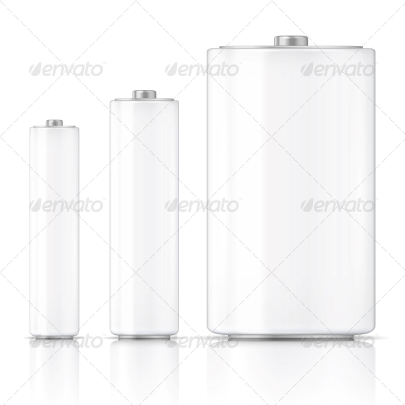 White Battery Template - Man-made Objects Objects