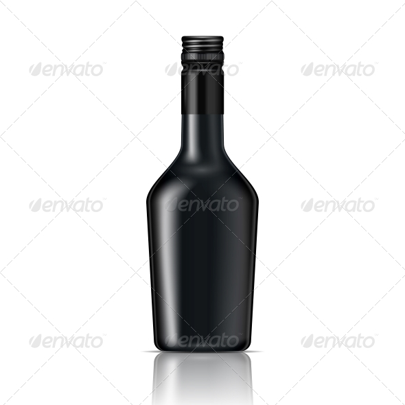 Black Glass Liqueur Bottle with Screw Cap - Man-made Objects Objects