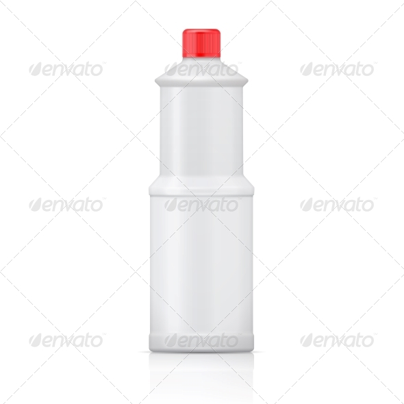 White Plastic Bottle for Bleach - Man-made Objects Objects