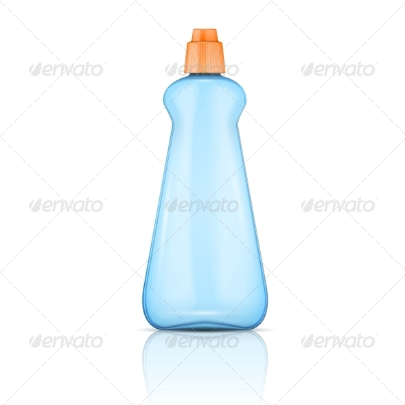 Blue Plastic Bottle with Orange Cap - Man-made Objects Objects