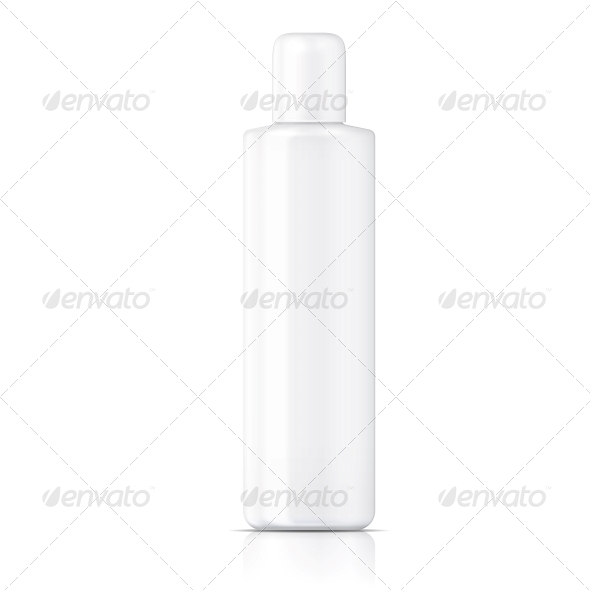 White Tubular Bottle Template - Man-made Objects Objects