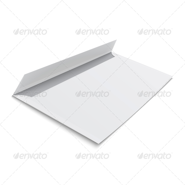 Blank Envelope on White Background - Man-made Objects Objects