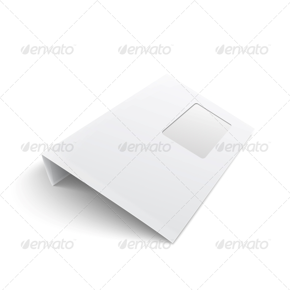 Blank Envelope with Window on White Background - Man-made Objects Objects