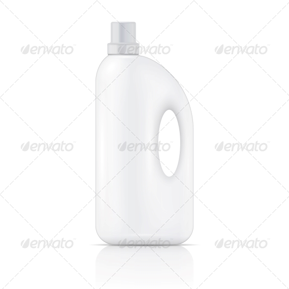 White Liquid Laundry Detergent Bottle - Man-made Objects Objects