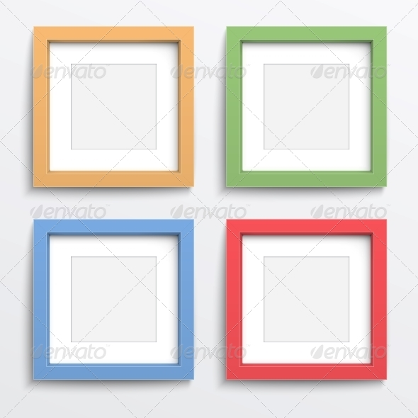 Color Frame Set on Gray Wall - Man-made Objects Objects