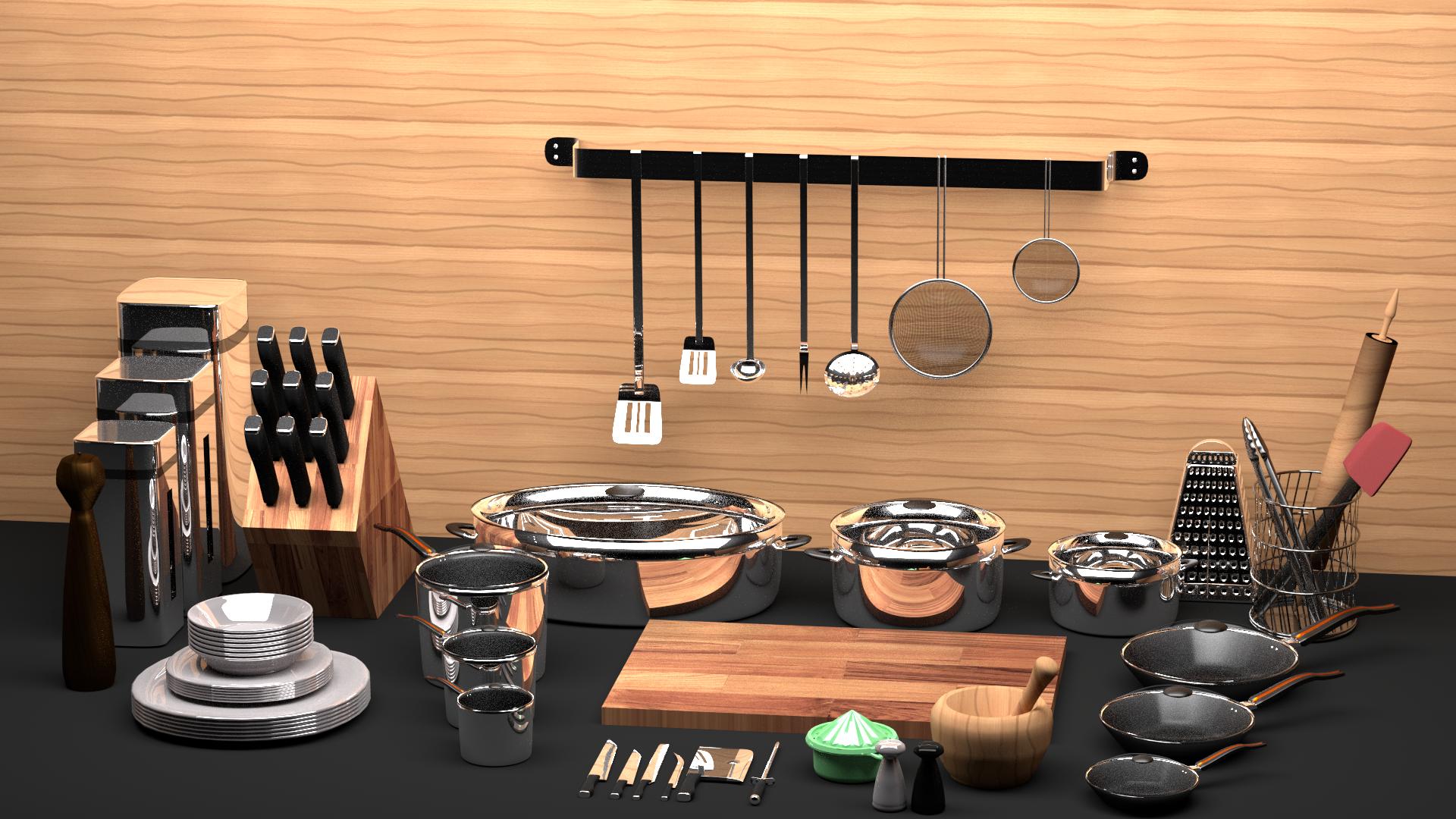 42 piece kitchen set by vesperdesign 3docean for All kitchen set