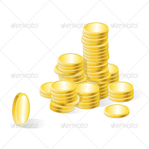 Vector Gold Coins Stack  - Business Conceptual