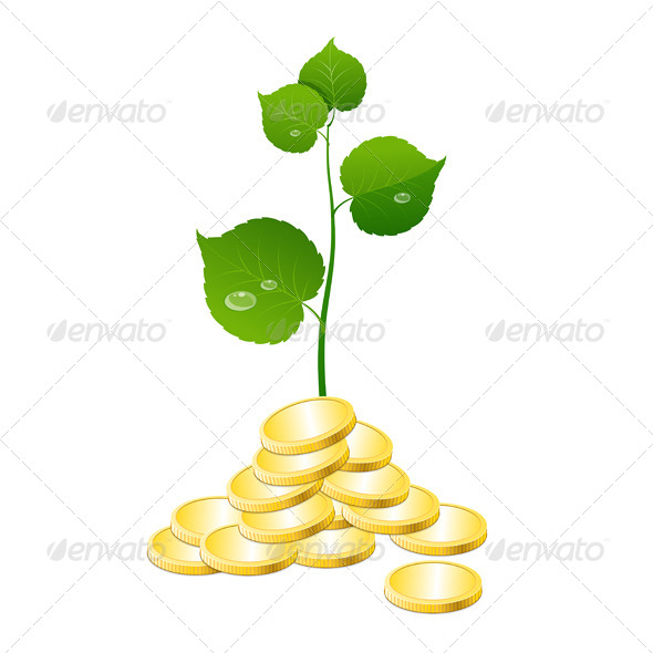 Vector Coins and Plant  - Concepts Business