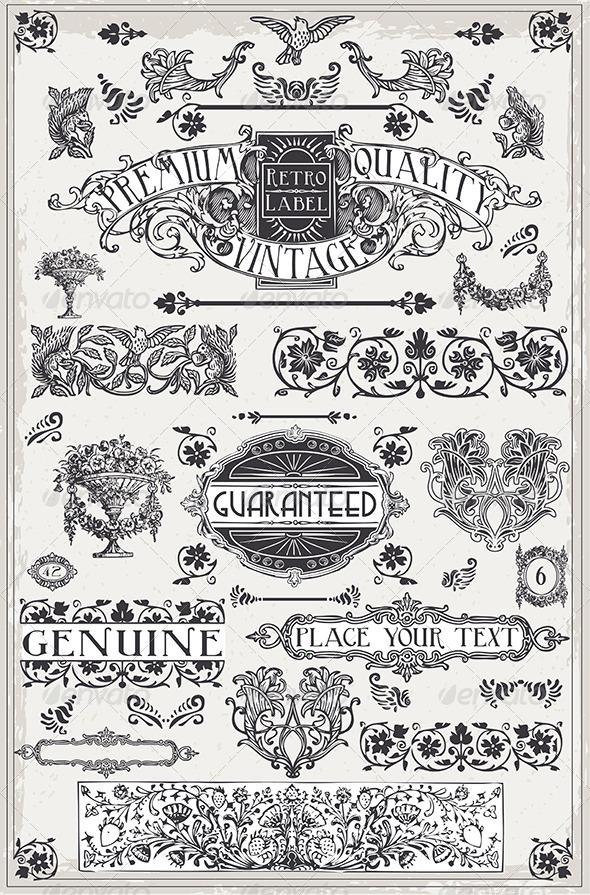 Vintage Hand Drawn Graphic Page Banners - Decorative Symbols Decorative