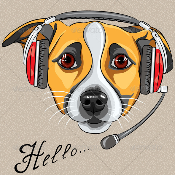Vector Dog Jack Russell Terrier with Phone Headset - Animals Characters