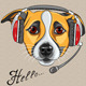 Vector Dog Jack Russell Terrier with Phone Headset - GraphicRiver Item for Sale