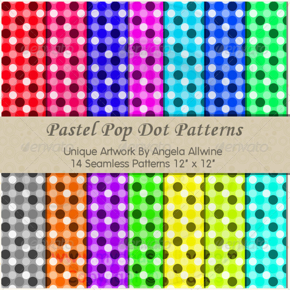 Pastel Pop Dots Pattern Set - Patterns Backgrounds