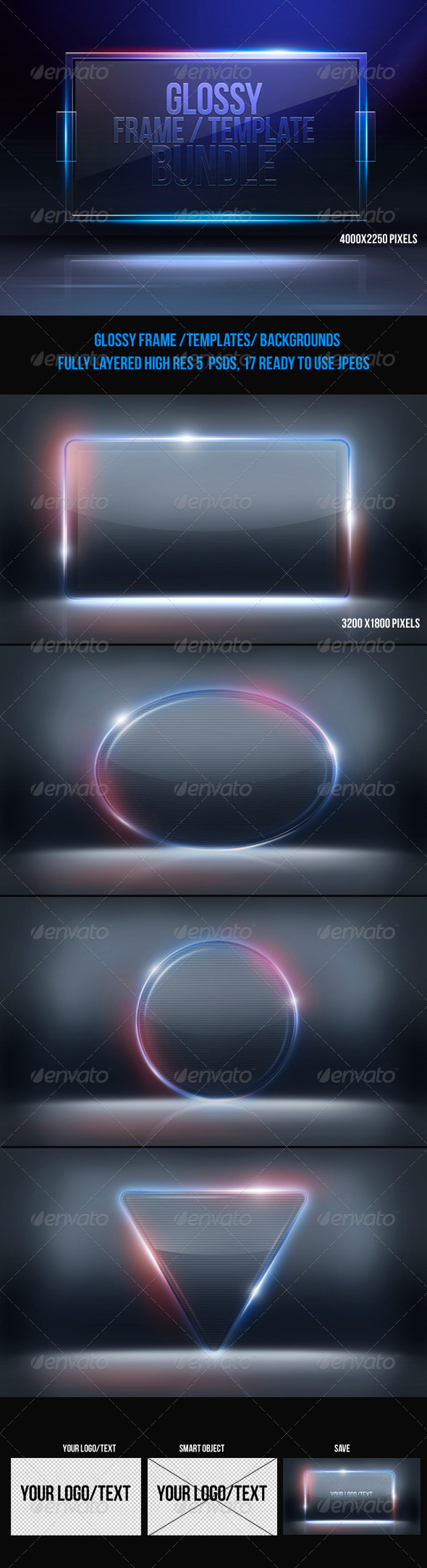 Glossy Frame Template Bundle - Backgrounds Graphics