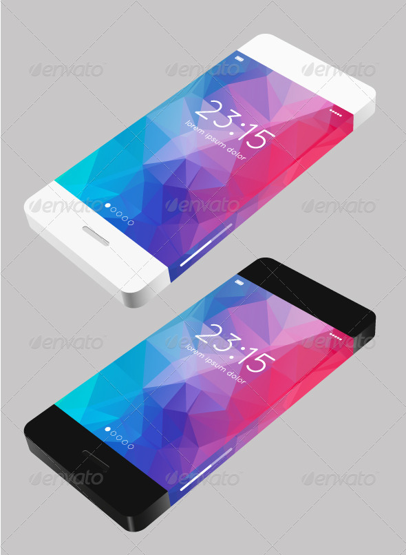 Vector Template Phone in Flat Style - Communications Technology