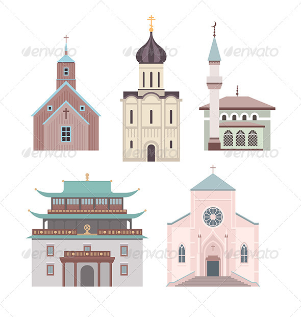Church Flat Illustration Collection - Buildings Objects