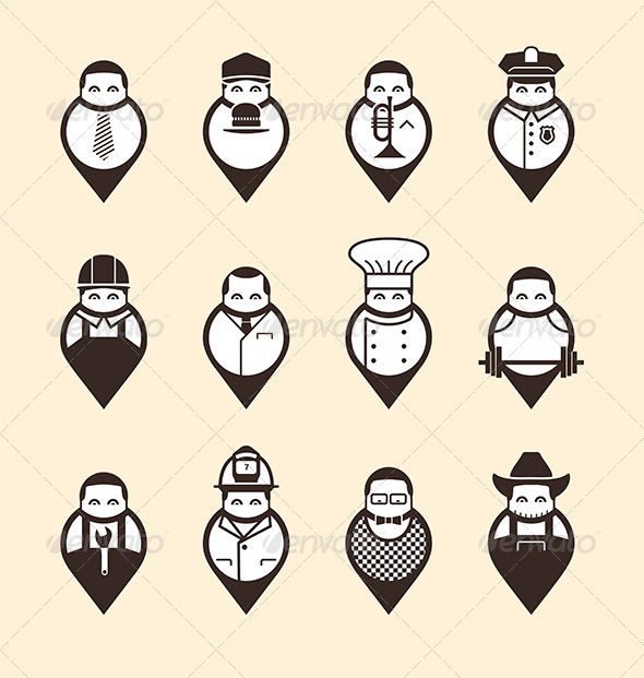 Man-Shaped Mapping Pins - People Characters