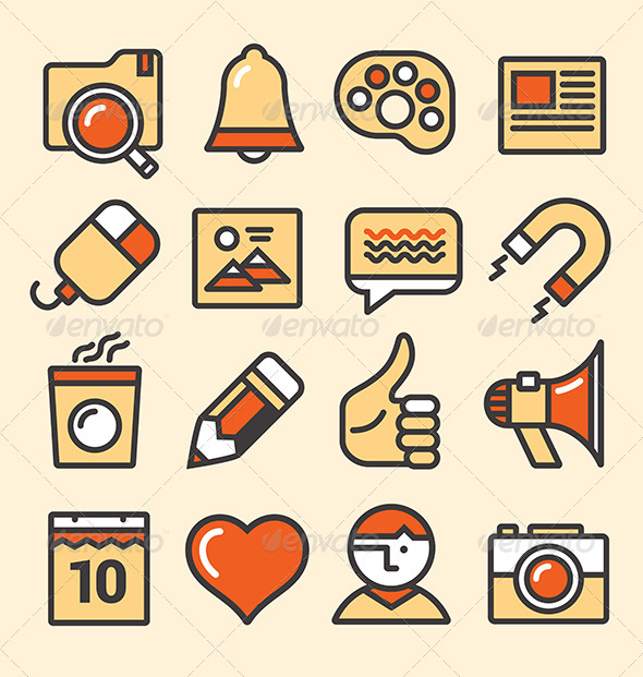 Outlined Media Icons Set - Media Icons
