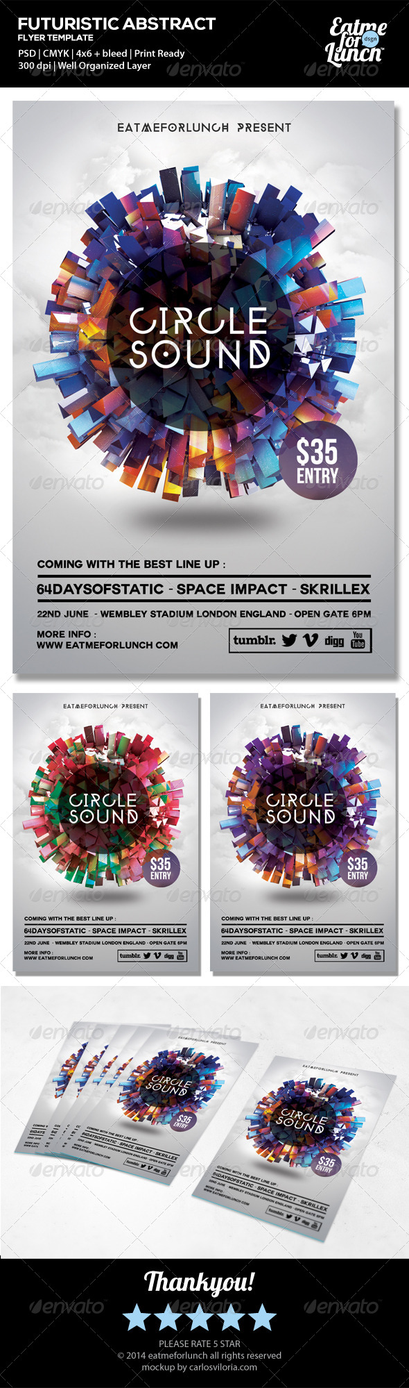 Futuristic Electronic/Dance/Club Flyer Templates - Clubs & Parties Events