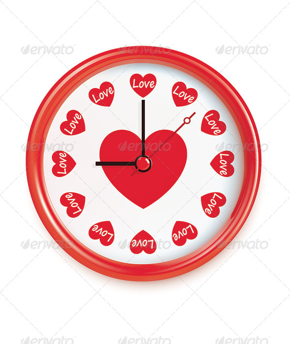 Clock with Hearts - Valentines Seasons/Holidays