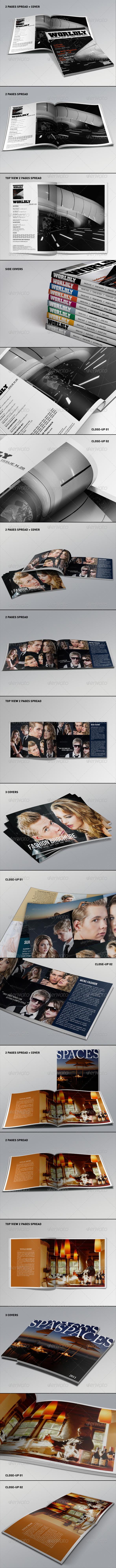 Realistic Magazine Mockups Bundle - Print Product Mock-Ups