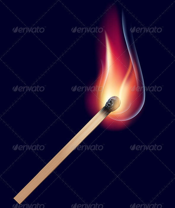 Burning Match on Black - Man-made Objects Objects