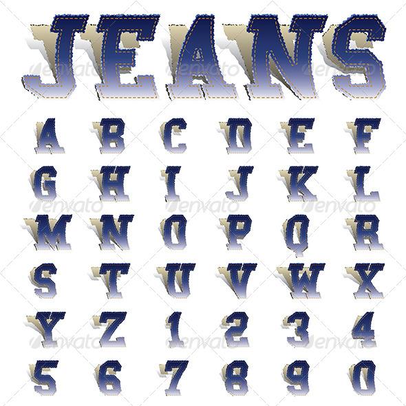 Jeans Font - Decorative Symbols Decorative