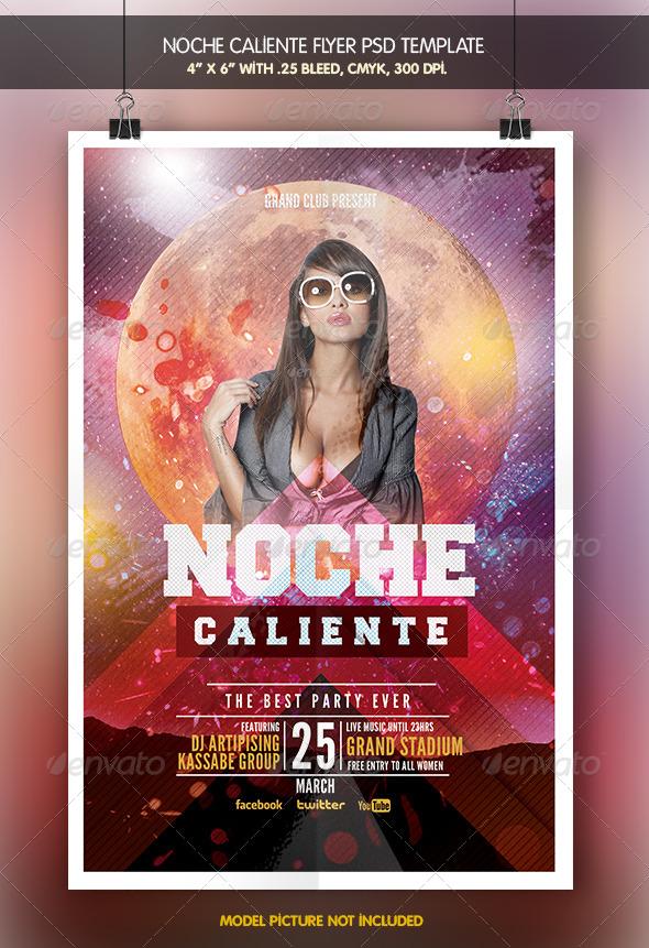 Noche Caliente   Flyer Template - Clubs & Parties Events