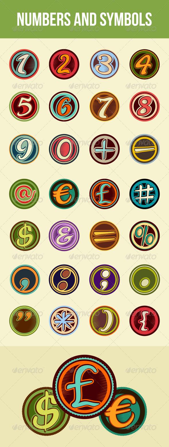 Vintage Badge Numbers and Symbols - Decorative Symbols Decorative