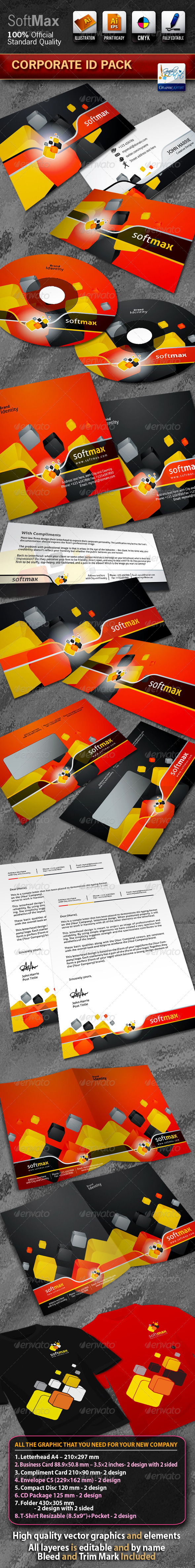 SoftMax Business Corporate ID Pack With Logo - Stationery Print Templates