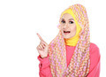 young moslem woman pointing