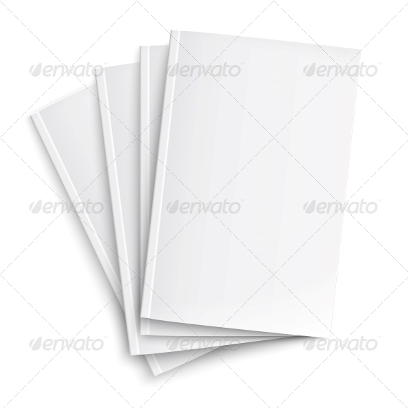 Stack of Blank Magazines Template. - Man-made Objects Objects