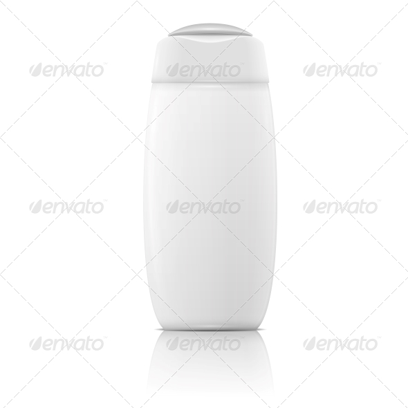 White Shampoo Bottle Template. - Man-made Objects Objects