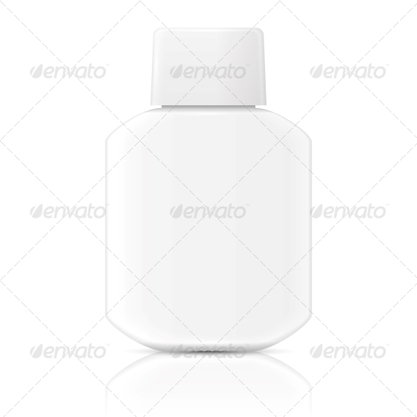 White Lotion Bottle Template. - Man-made Objects Objects
