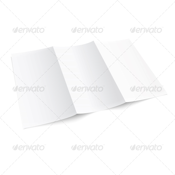 Blank Trifold Paper Brochure. - Man-made Objects Objects
