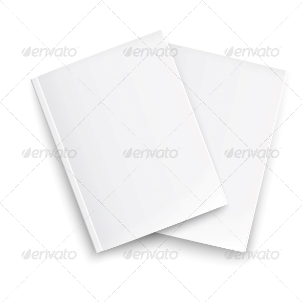 Couple of Blank Closed Magazines Template. - Man-made Objects Objects