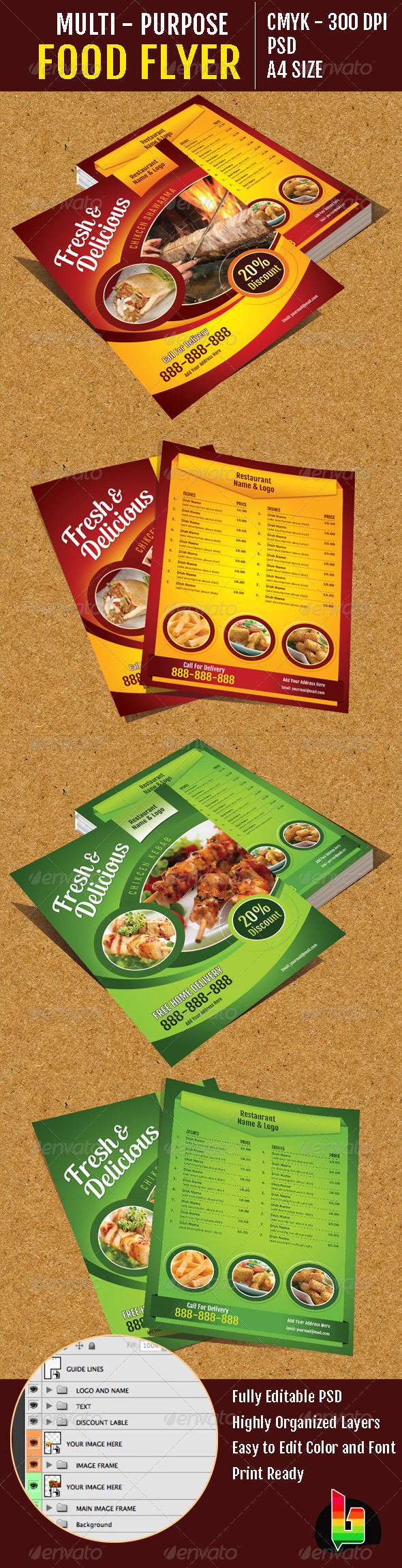 Multi-Purpose Food Flyer - Restaurant Flyers