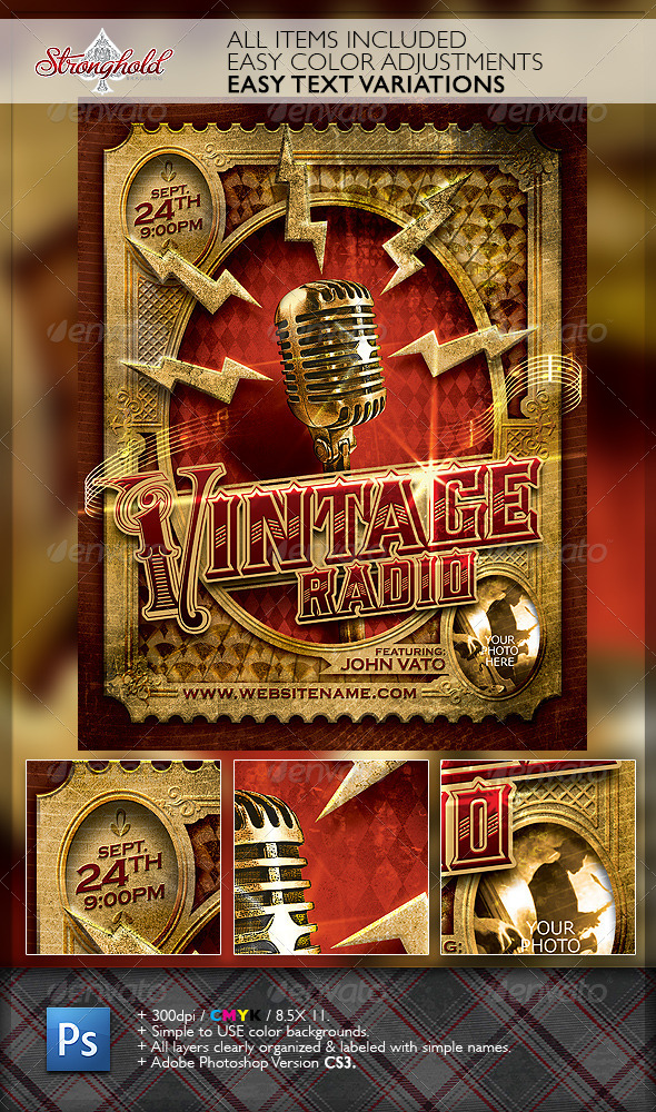 Vintage Jazz Music Event Flyer Template By Getstronghold