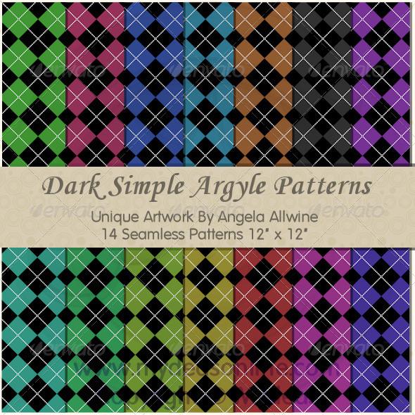Dark Simple Argyle Pattern Set - Patterns Backgrounds