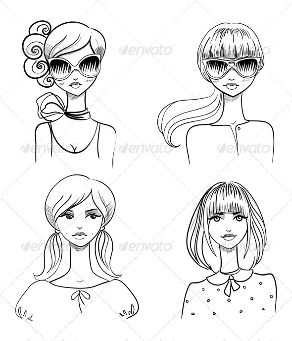 Fashionable Girls - People Characters