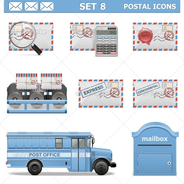 Vector Postal Icons Set 8 - Industries Business