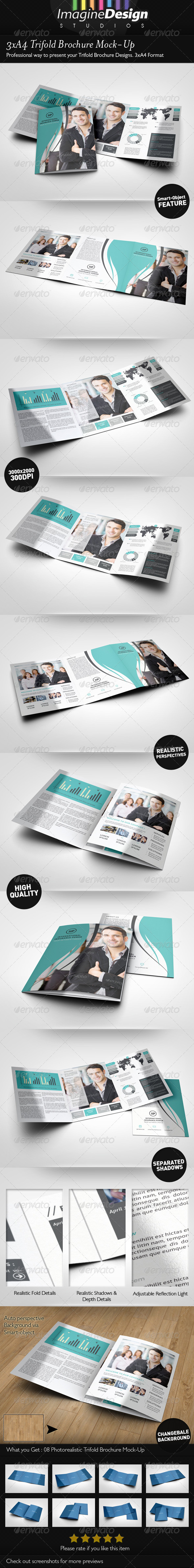 3xA4 Trifold Brochure Mock-Up - Brochures Print