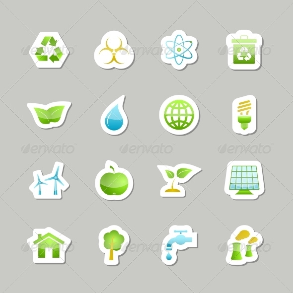 Eco Green Icons Set - Web Elements Vectors
