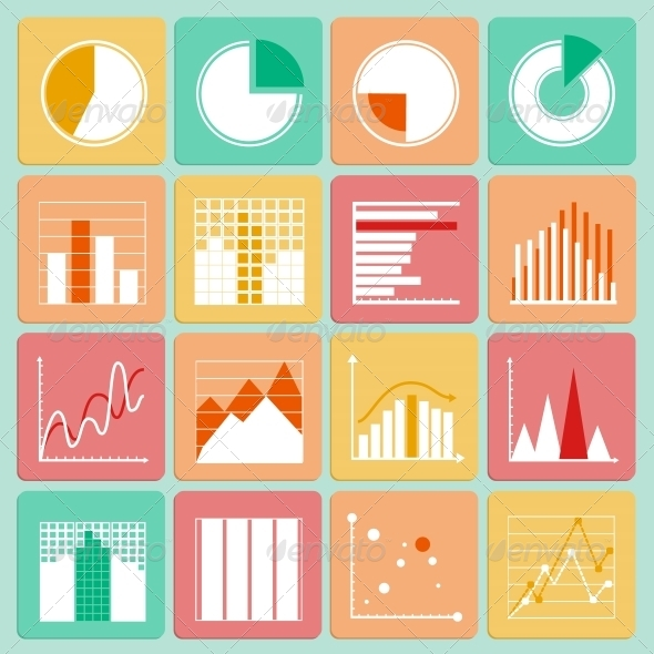 Business Presentation Charts and Graphs - Business Icons