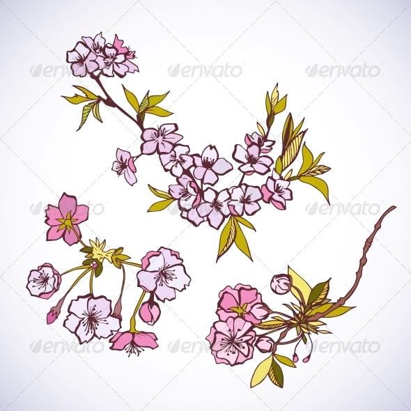 Blossoming Sakura Decorative Elements - Decorative Symbols Decorative