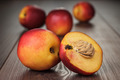 Some Fresh Nectarines Over Wooden Background - PhotoDune Item for Sale