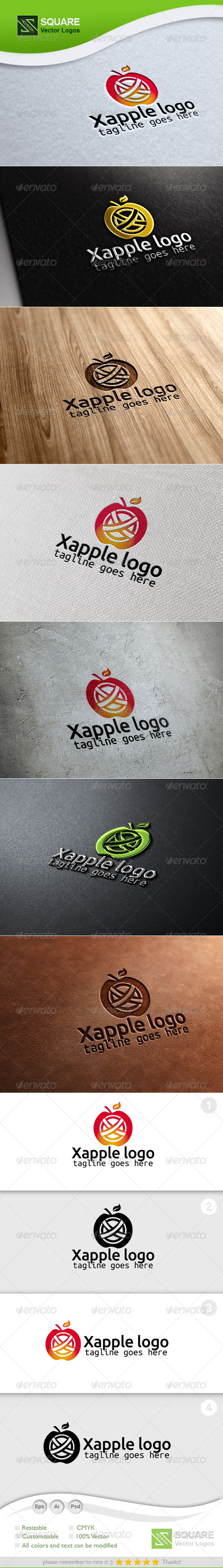 X, Apple Vector Logo Template - Food Logo Templates