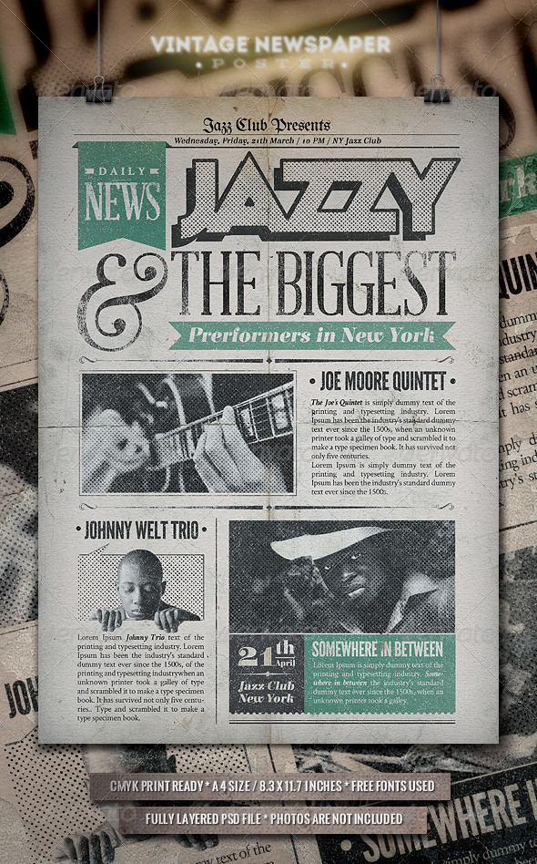 Jazz Vintage Newspaper Poster By Punedesigntwo Graphicriver